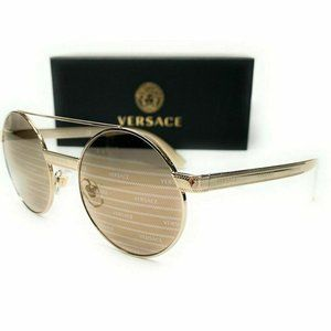 Versace Gold Brown 52mm Round Sunglasses